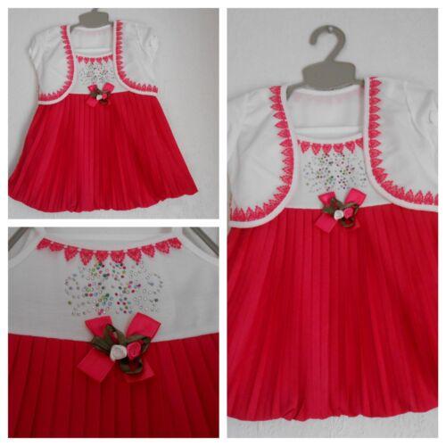 Kleid Mädchen  Baby Kleid mit Bolero Taufe Kleid  Himbeere//Weiß Gr.68,74,80,86