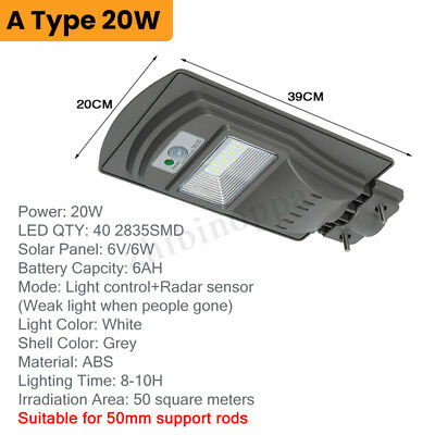 20W/40W/60W LED Solar Powered Wall Street Light PIR Motion Outdoor Garden Lamp