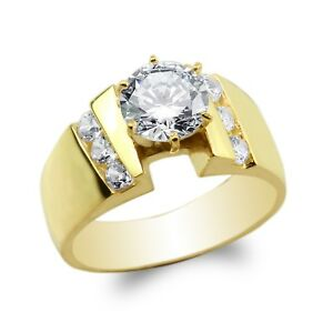 JamesJenny 10K14K Yellow Gold 0.8ct Round CZ Beautiful Lined Solitaire Ring Size 4-10