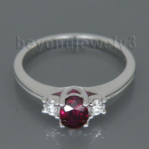 Oval 4x5mm 18Kt White gold Diamond Natural Ruby Diamond Engagement Ring