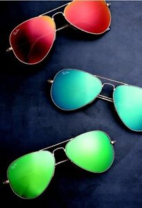 red ray ban aviators  NEW Original RAY-BAN Aviator Large Metal FLASH Red Blue Green ...