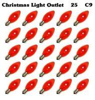 25 C9 Amber Orange Glass Replacement Bulbs Xmas Halloween Lights