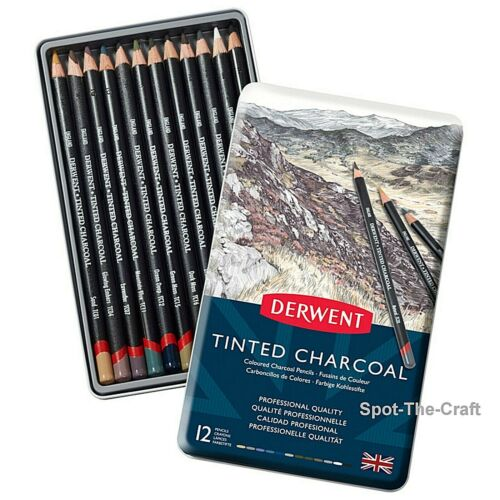 Derwent Tinted Charcoal Pencil Set 12 With Tin 2301690