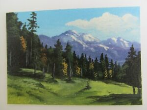 ACEO-Original-Acrylic-Painting-Landscape-Mountain-Meadow-by-Artist-Joan-Hutson