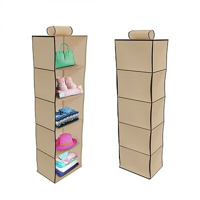 Hanging Closet Organizer 5 Shelves Storage Space Hang from Pole Bedroom
