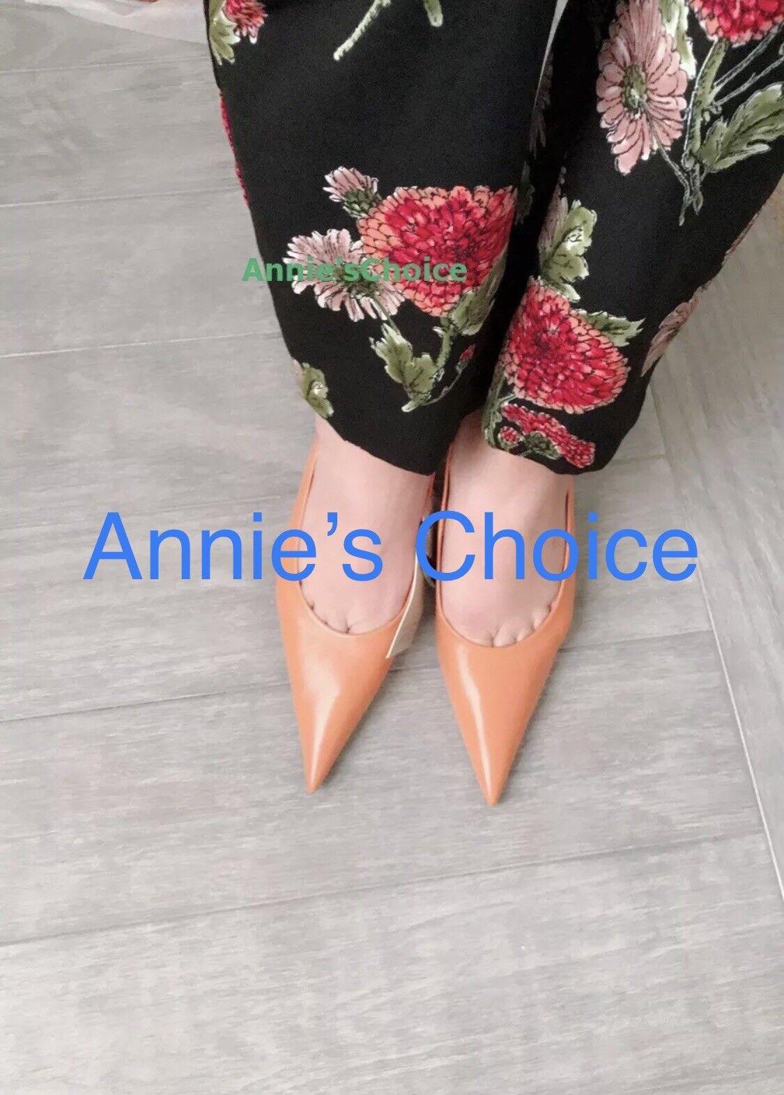 ZARA femmes Cuir Pointu Cour chaussures (cuir, US 8, 9 EUR 39, 40)