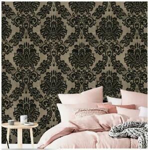 Peel And Stick Damask Wallpaper Gold Black Flowerl Self Adhesive Contact Paper Ebay