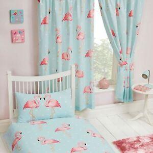 Fifi-Flamant-Rose-Bleu-Turquoise-Rideaux-Double-66-034-x-54-034-Enfants-Filles