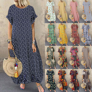 ZANZEA-Womens-Summer-Short-Sleeve-Beach-Dress-Polka-Dot-Ladies-Long-Maxi-Dresses