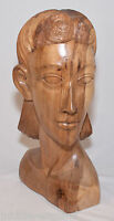 Large Lady Bust Sculpture 45cm Figure Natural Finish Solid Suar Wood Hand Carved