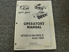 Argo Model NK NKS & S All Terrain Vehicle ATV Owner Operator Maintenance Manual