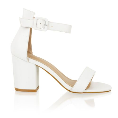 New Womens Mid Block Heel Ladies Ankle Strap Open Toe Party Summer Sandals Shoes