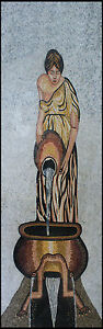 Lady Roman Gown Water Vase Fountain Marble Mosaic FG693