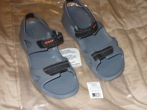 34fdb8a61d51 Image is loading Men-039-s-Crocs-Swiftwater-River-Sandals-Charcoal-