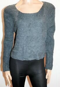 Valleygirl-Brand-Grey-Long-Sleeve-Chunky-Knit-Top-Size-M-BNWT-Ti04