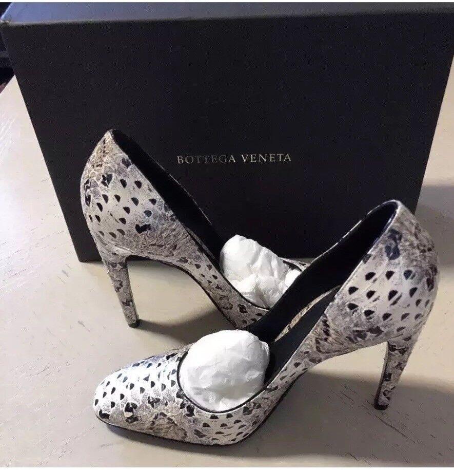 NIB  860 Bottega Veneta Women's Leather shoes Black Pearl US 7( 37 EU)