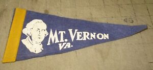 "Vintage MT. VERNON, VIRGINIA 9"" Blue PENNANT - George Washington Face Logo"