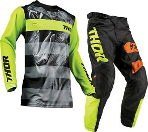 Thor Pulse Savage Big Kat Black Lime Offroad MX Motocross Race Kit Gear Adults