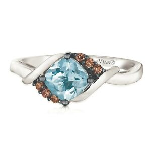 LeVian 14K White Gold Aquamarine Gemstone Chocolate Brown Diamond Cocktail Ring
