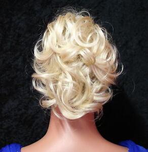 HAARGUMMI-HAARTEIL-PLATIN-BLOND-Scrunchie-Dutt-Haarband-Zopfgummi-Damen-Neu-K01