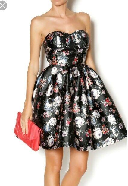 Gracia party floral strapless dress Größe medium