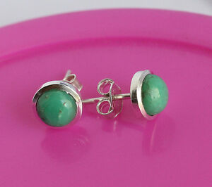 8-MM-Natural-Green-Chrysoprase-Gemstone-925-Sterling-Silver-Earring-Jewelry-268
