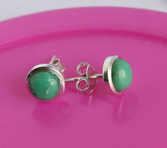 8 MM Natural Green Chrysoprase Gemstone 925 Sterling Silver Earring Jewelry 268
