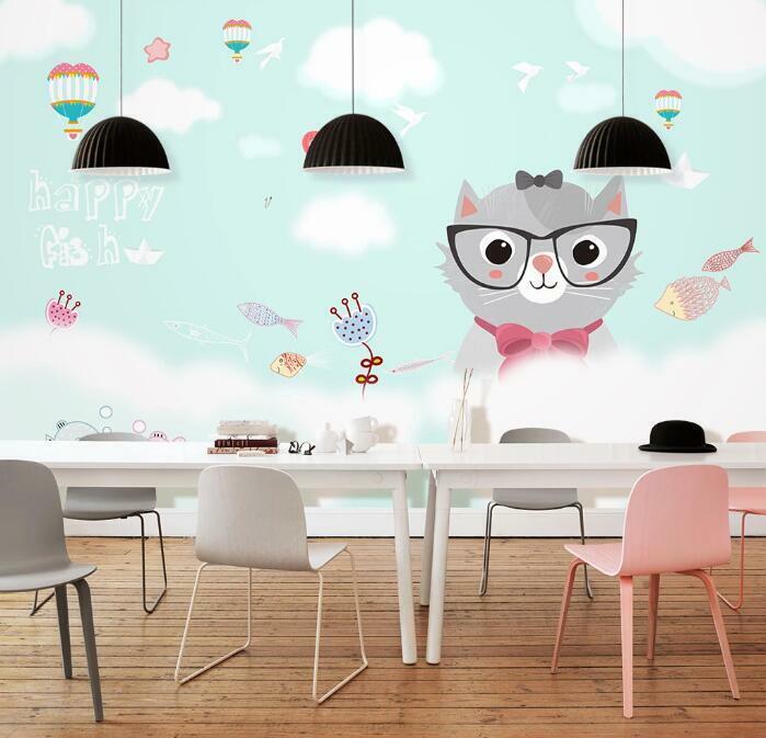 3D Nette Katze Q2169 Tapete Wandbild Selbstklebend Abnehmbare Aufkleber Kids Su