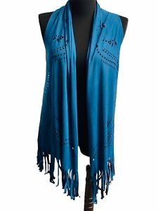 Yahada Suede Fringed Festival Women's Boho Hippy Long Vest Top