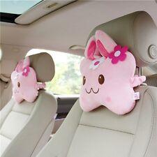 2Pcs Cartoon Pink Auto Car Seat Head Rest Cushion Pillows Neck Rest Pillow
