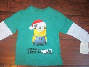 Boys-Girls-Christmas-MINION-DEAR-SANTA-IT-WASN-039-T-MY-FAULT-t-Shirt-sz-18m-or-4T