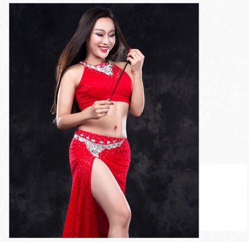 NEW Lace Rhinestones Tank Top+Long Skirt 2pcs set Belly Dance Costumes Dress WZ