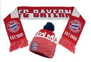 FC Bayern Munich pom beanie cap hat and scarf Soccer Football ... e802af01953