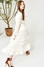 Ulla Johnson Leonora Ruffled Silk Snow Maxi Dress Skirt  Sz 2  $483 NWT!