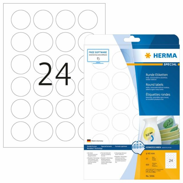 HERMA Removable labels A4 Ø 40 mm round white Movables/removable paper matt Jrw9