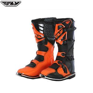 New-UK-3-Youth-Kids-Fly-Racing-Maverik-Boots-Kids-Motocross-KTM-Orange