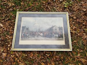 Antique-aquatint-After-Henry-Barraud-THE-PYTCHLEY-HUNT-THE-CRICK-MEETING-38-034-x28-034