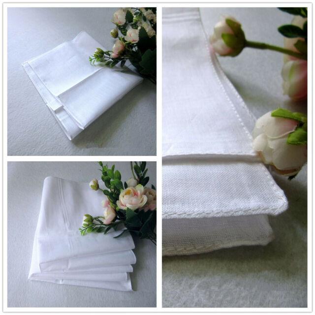 12Pcs Handkerchiefs Men Pocket White Cotton Plain Hankies Sweat Face Towel