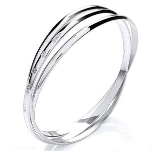 Image Is Loading 3mm Solid Sterling Silver Russian Bangle Bracelet Womens