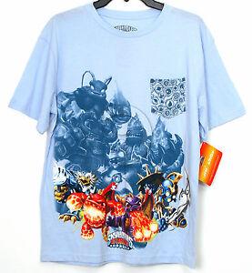 New-Boys-Skylanders-Giants-T-Shirt-amp-Pocket-Front-Short-Sleeve-Blue-XL