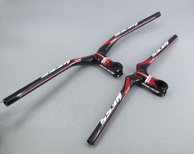 Full Carbon MTB Road Bike riser Handlebar 58-72 Integrated Bar Stem 9-12cm White