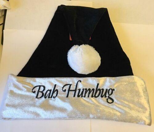 Adult OSFM NEW Santa Hat Bah Humbug Soft Black w// White Trim