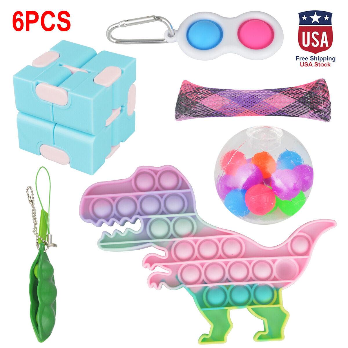 6 Pack Stress Relief Kids Adult Fidget Toy Set Popit Push Bubble Sensory Toys