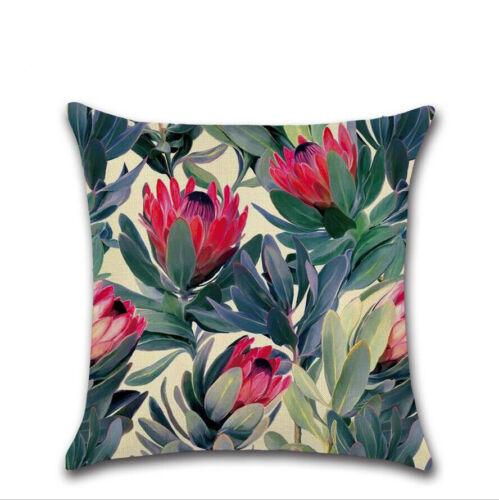 45cm Tropical Leafs Cotton Linen Throw Pillow Case Cushion Cover Sofa Home Decor