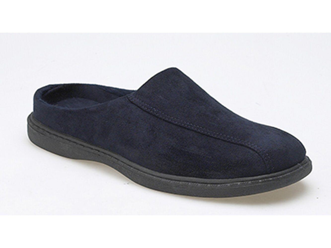 Zedzzz JARROW Mens Textile Rubber Sole Slip On Comfy Mule Slippers Navy bluee