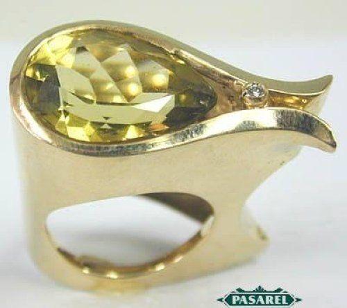 14k Yellow gold Lemon Quartz & Diamond Ring Size 6