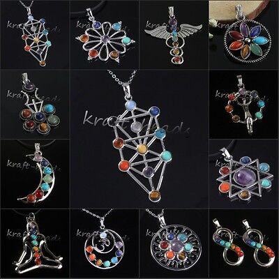 Silver Plated 7 Gemstone Chakra Healing Point Reiki Energy Stone Pendant Jewelry