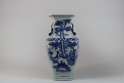 43 cm chinesische Vase Porzellan handbemalt Figuren Motiv Signatur China RE176