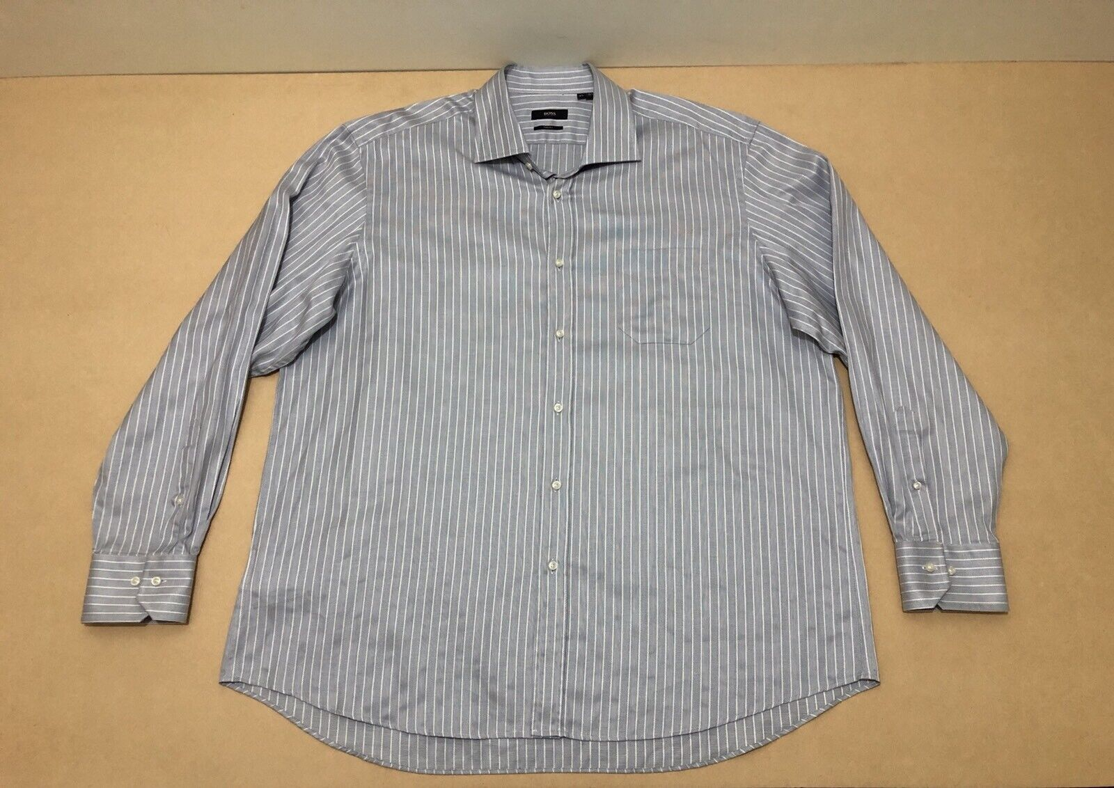 Hugo Boss Shirt Mens  Size 47 or 18.5  Great Cond Long Sleeve Polo Business