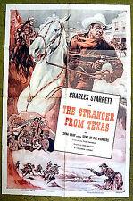 "vintage -- Charles STARRETT -- western action poster -- ""STRANGER FROM TEXAS"""